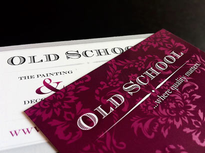 Old School, The Painting & Decorating Company business cards.